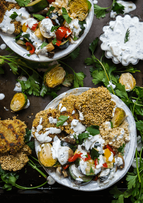 Serving Protein Packed Falafel Bowls