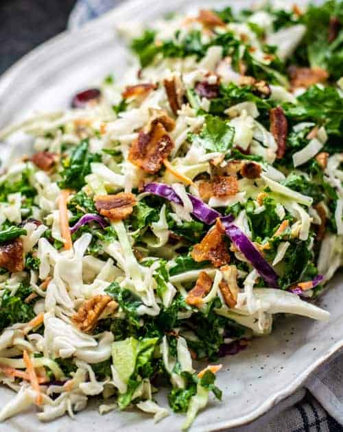 Simple Kale Slaw with an Egg-less Dressing Close Up