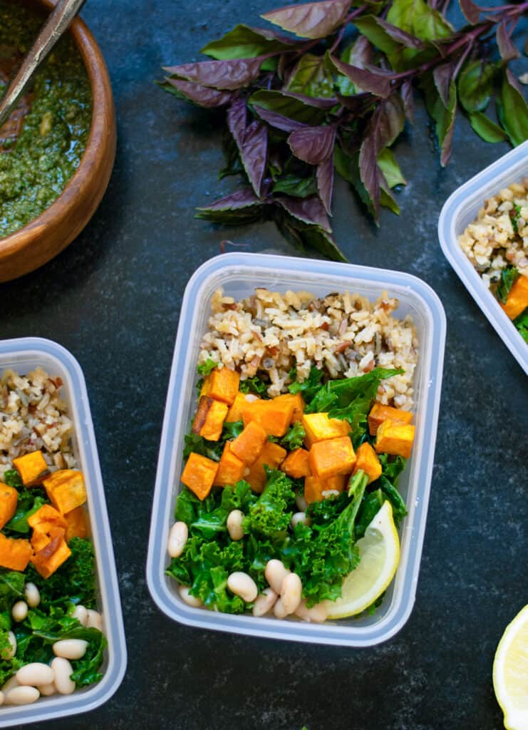 Meal Prep Vegan Sweet Potato and White Bean Bowl