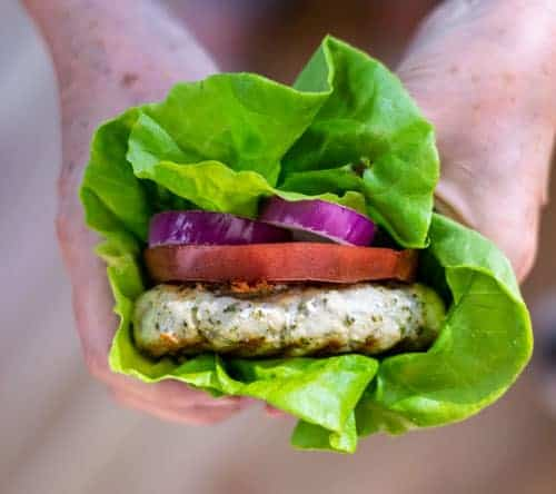 Grilled Chicken Pesto Burger wrapped in lettuce