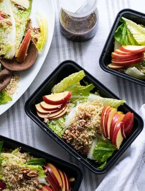 Meal Prep of Vegan Apple Quinoa Salad with Maple Balsamic Vinaigrette
