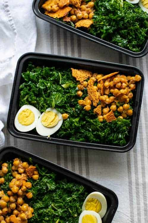 Meal Prep Kale Salad with Caesar Vinaigrette and Parmesan Chickpeas
