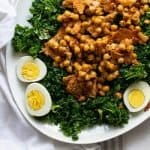 Kale Salad with Caesar Vinaigrette and Parmesan Chickpeas