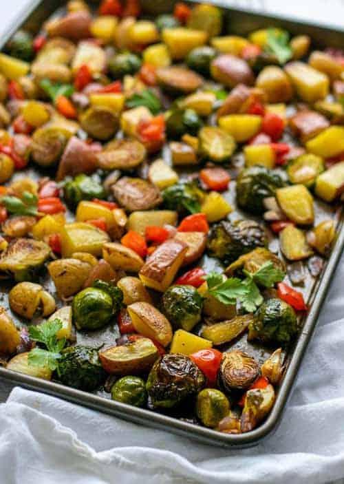 pan of roasted vegetables