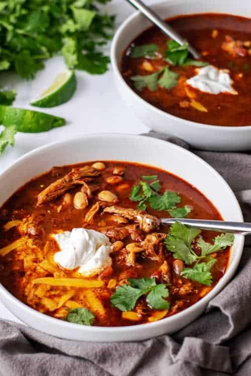 Bowl of Crockpot Chicken Chili