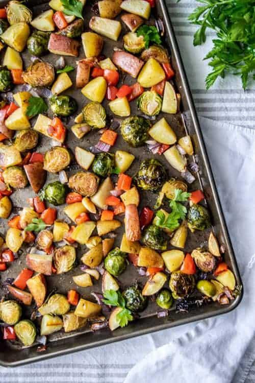 Sheet pan full of roasted vegetables