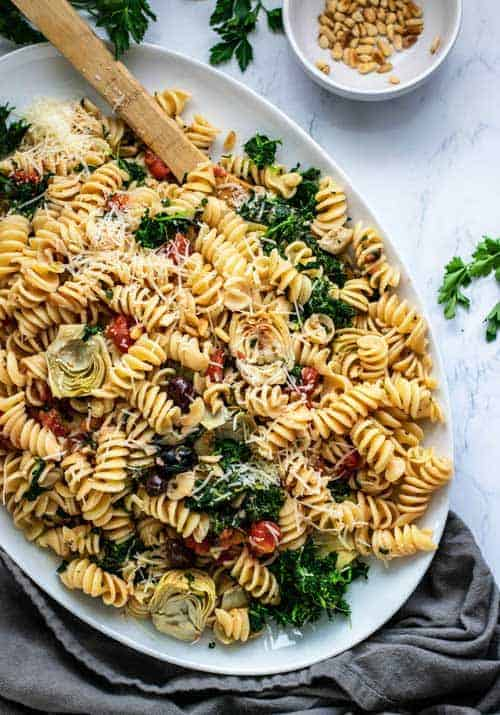 Platter of Mediterranean Vegetable Pasta
