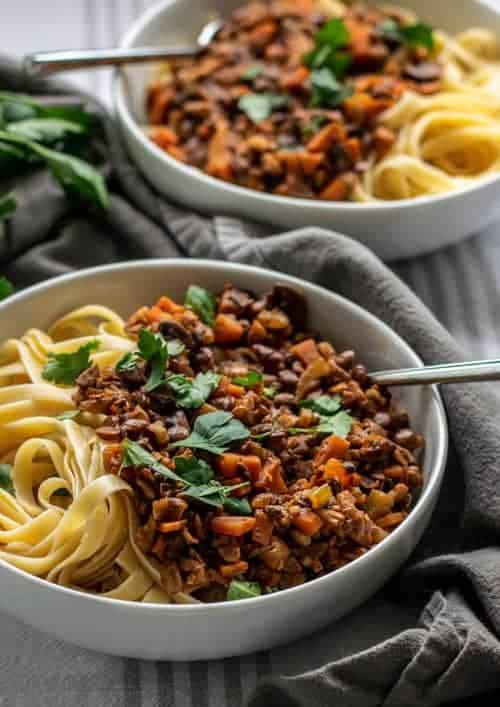 Bowl of Vegan Bolognese with Lentils and Walnuts