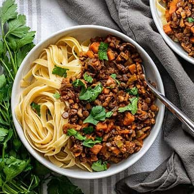 Vegan Bolognese with Lentils and Walnuts