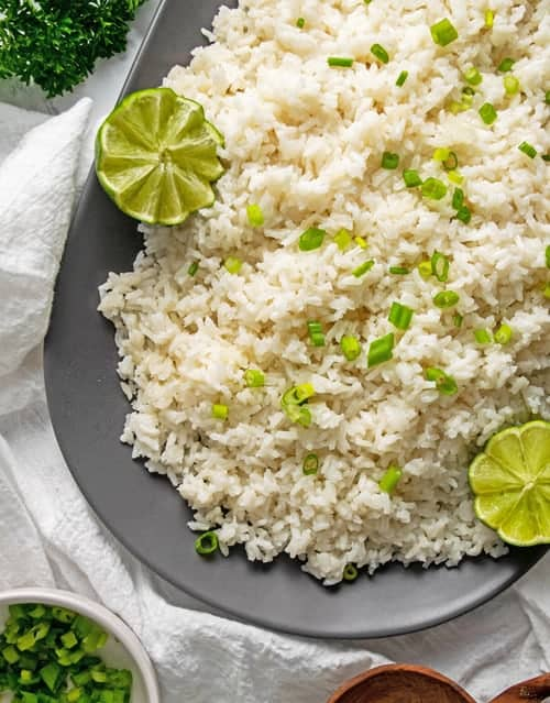 Platter of coconut rice and lime
