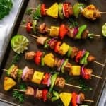 Platter of Grilled Pineapple Chicken Kabobs