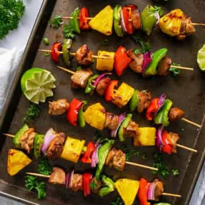 Grilled Pineapple Chicken  Kabobs with Coconut Rice