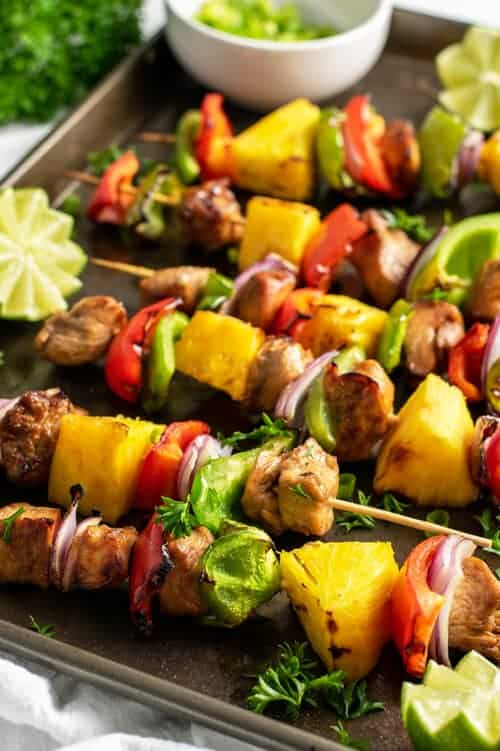 close up of pineapple skewers