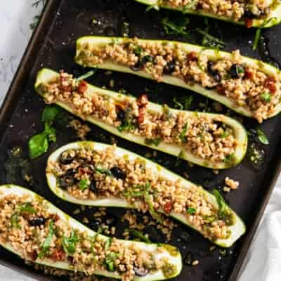 Zucchini Boats with Farro and Sun Dried Tomatoes