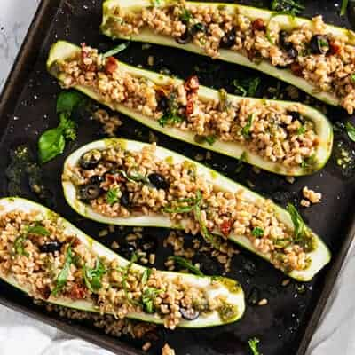 Vegetarian Zucchini Boats with Farro and Sun Dried Tomatoes