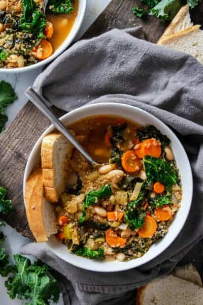 Big bowl of Vegan White Bean and Kale Soup