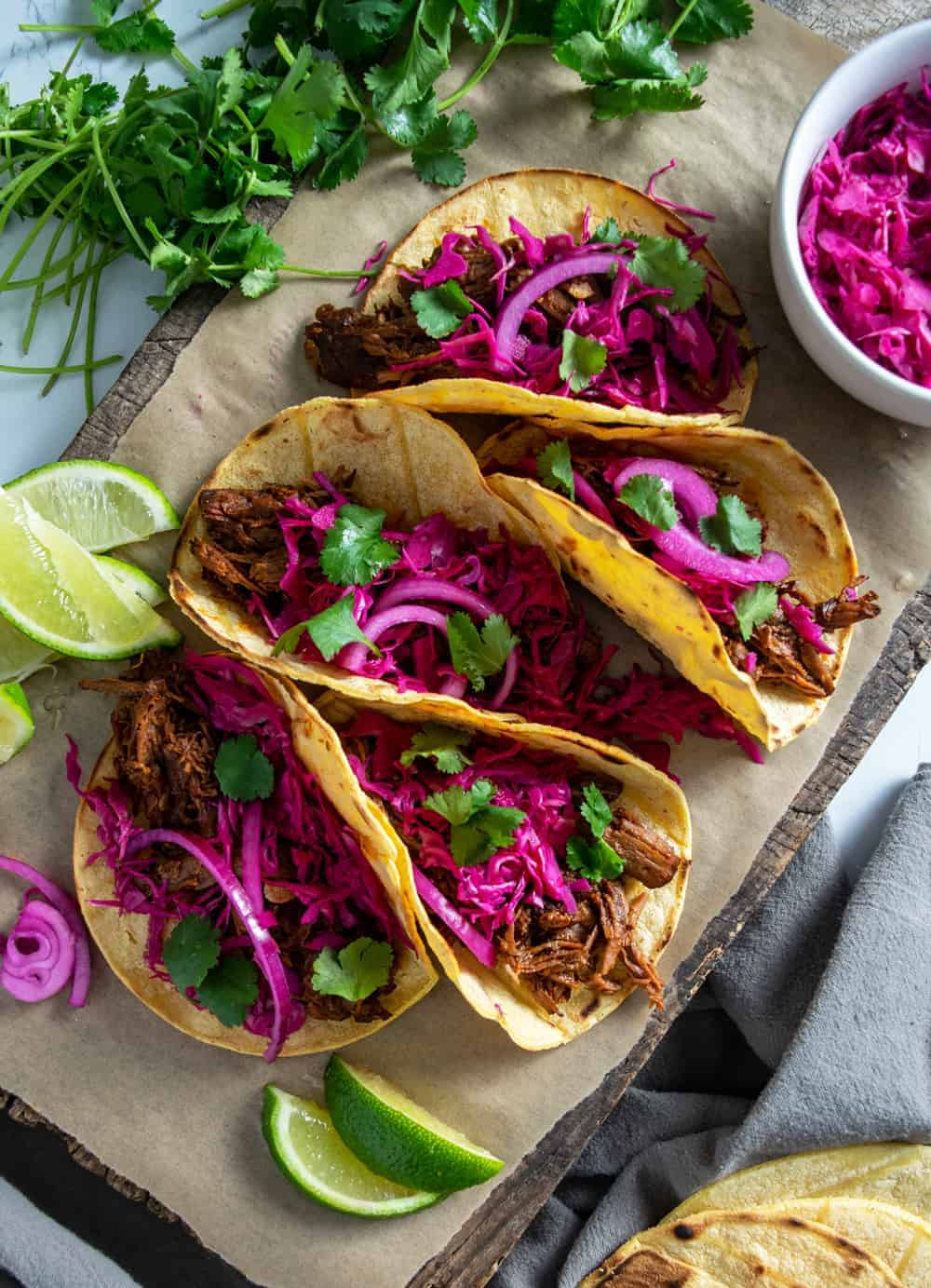 Tray of Beef Barbacoa with Pickled Red Onion and Cabbage