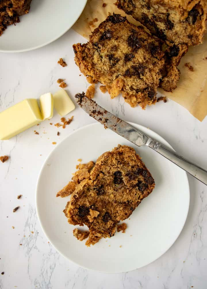 Chocolate Chip Banana Bread with Streusel Topping with butter