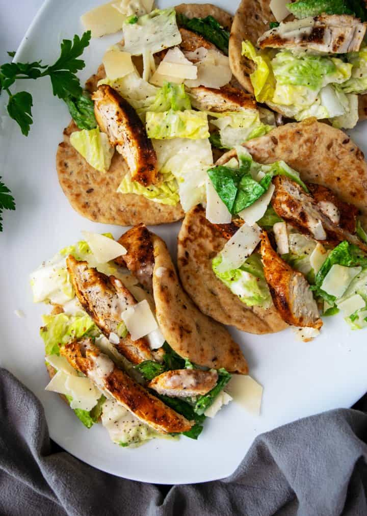 platter of chicken caesar pita