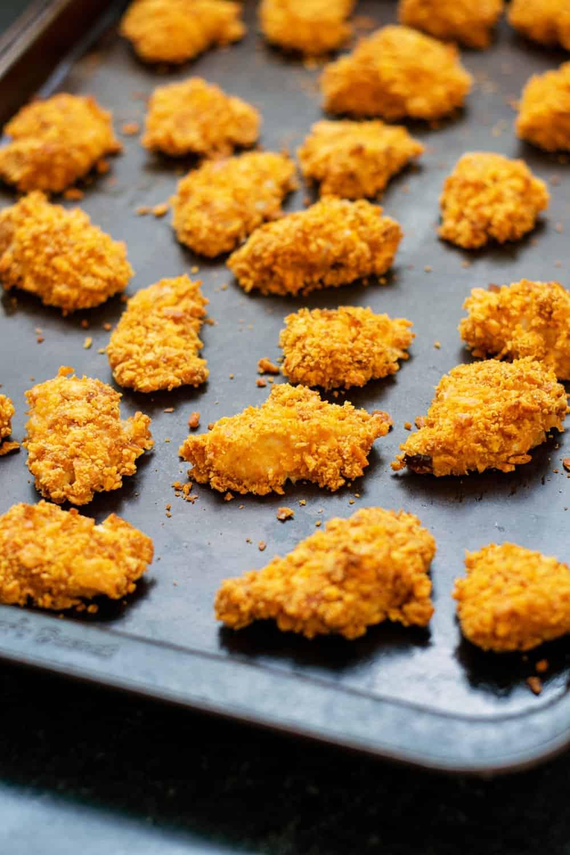 baking sheet of cheez-it chicken bites