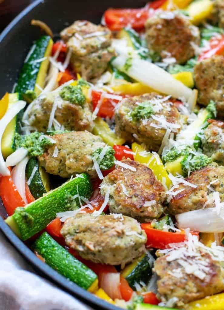 skillet of pesto chicken meatballs