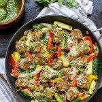 pan of pesto chicken meatballs