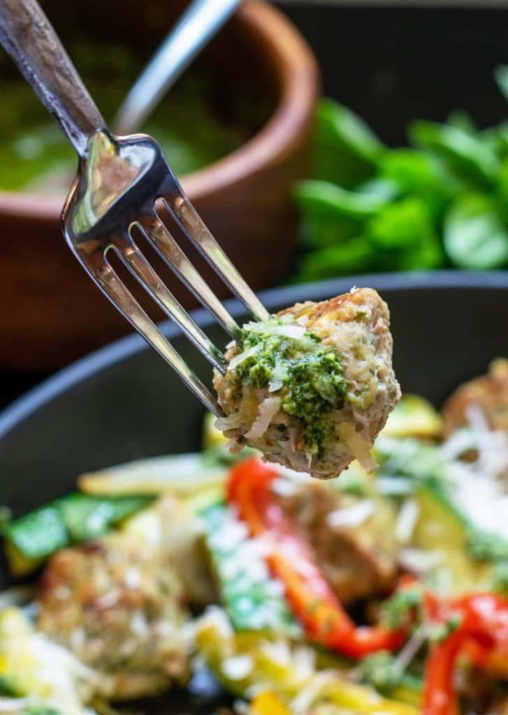 close up of pesto chicken meatballs